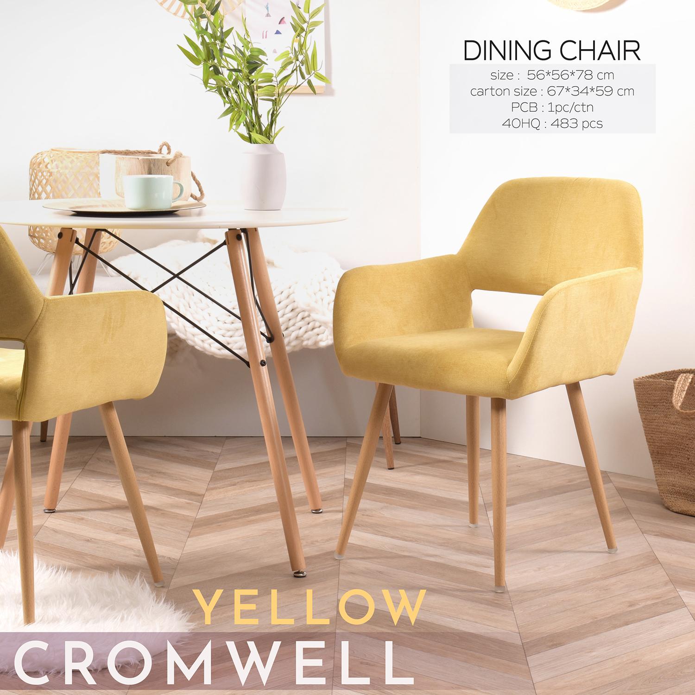 Bois Fauteuil Salle Chaise Look Salon Bureau Chambre À Manger Jaune Métal Design Tissu Scandinave OkuiZPX
