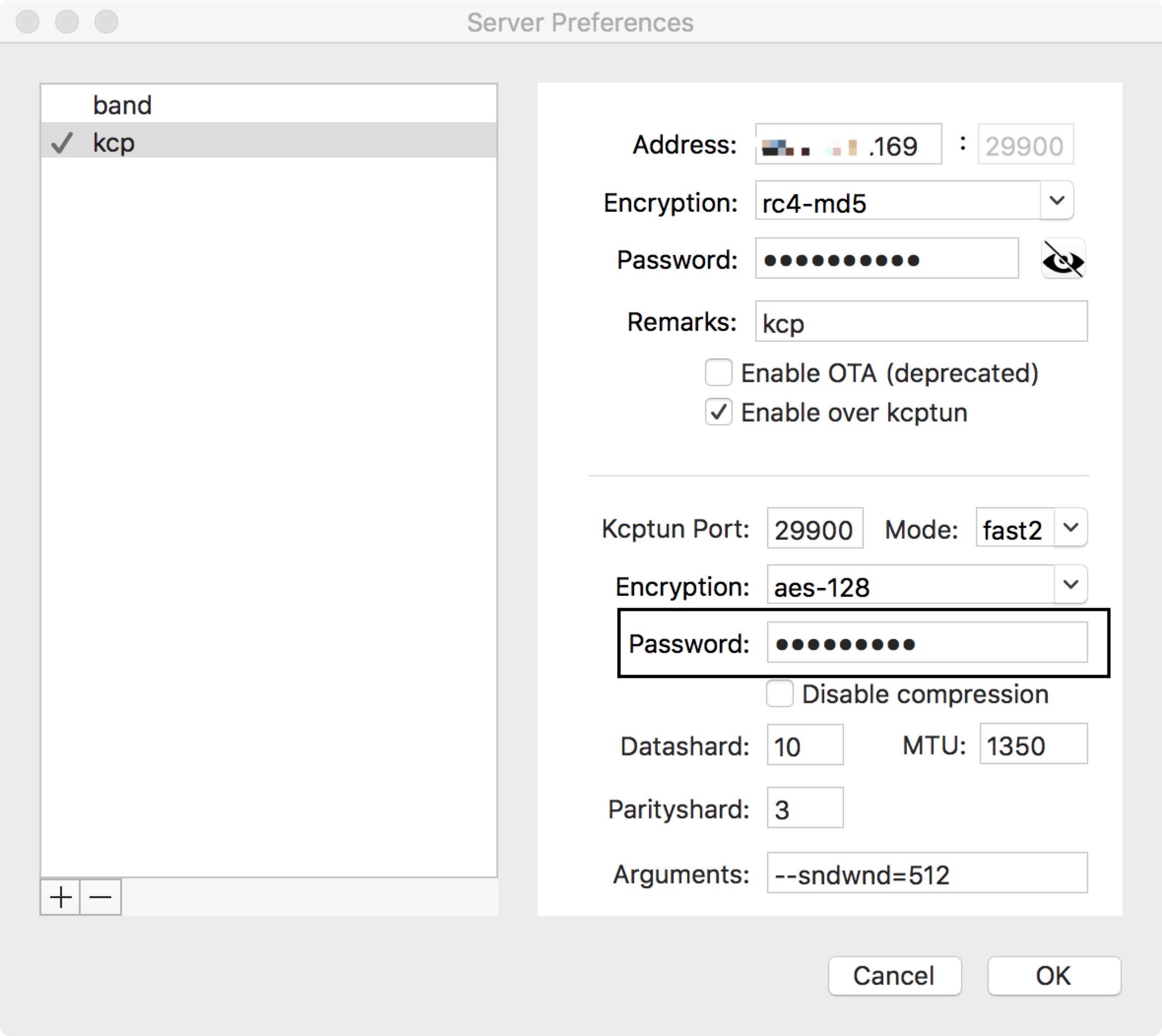 ShadowsocksX-NG kcptun设置
