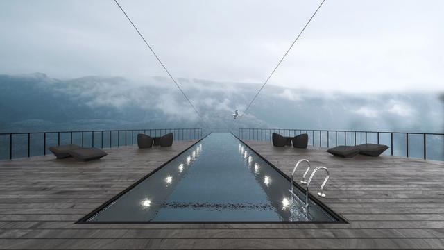 Hayri Atak 在挪威设计悬崖酒店,山脉最佳观赏处