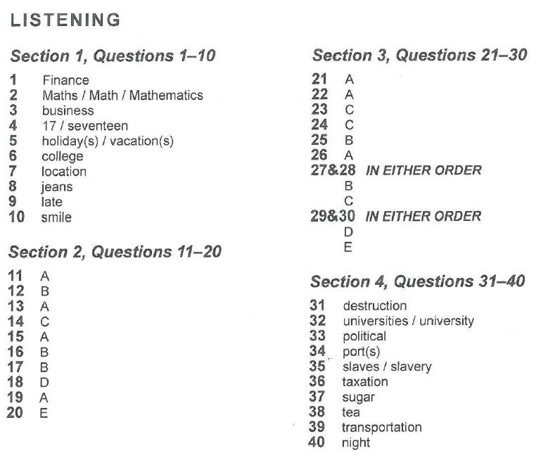 剑桥雅思13听力第四套题目答案
