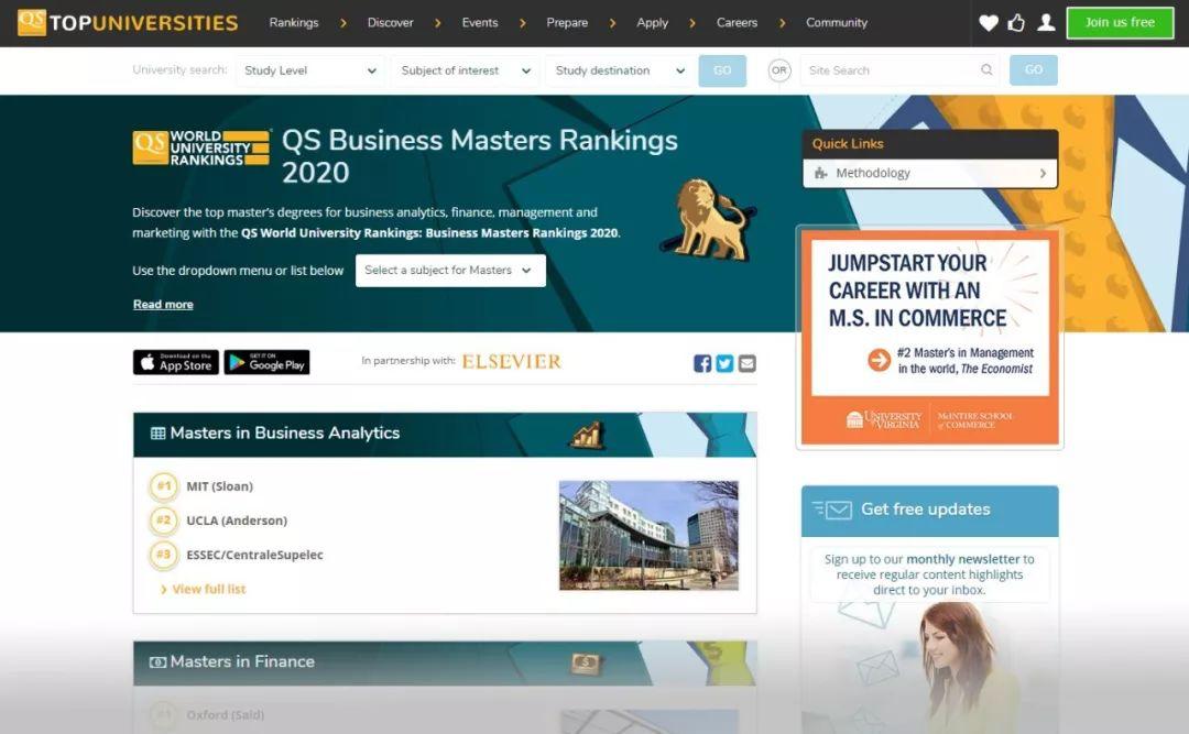 2020年QS商科世界排名榜单 申请必读