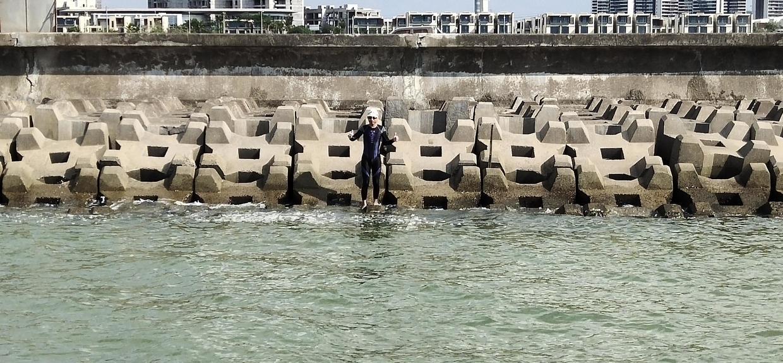 成功在新埠岛防护堤登岸