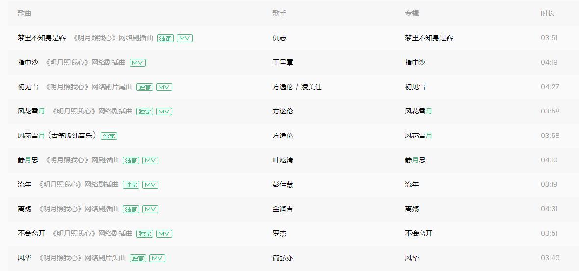 《明月照我心》网络剧主题曲插曲【高品MP3/320K/无损/FLAC】