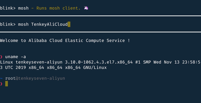 利用 Blink Shell 登录至服务器