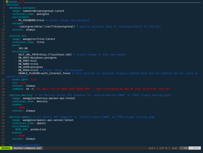 修改 docker-compose 配置文件