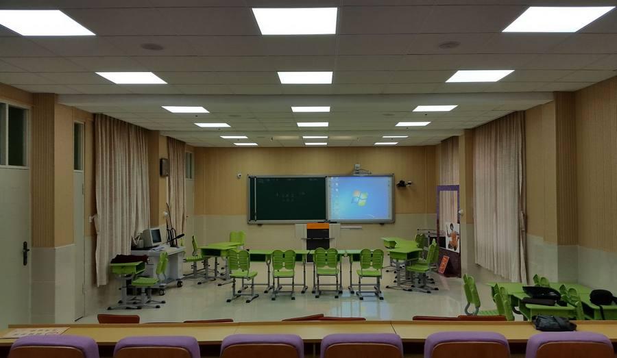 LED panel light lighting the school classroom