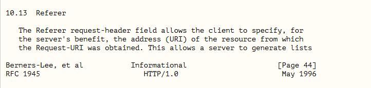 HTTP/1.0协议中定义的Referer
