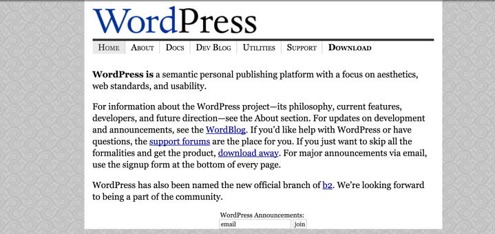 2003年时的Wordpress