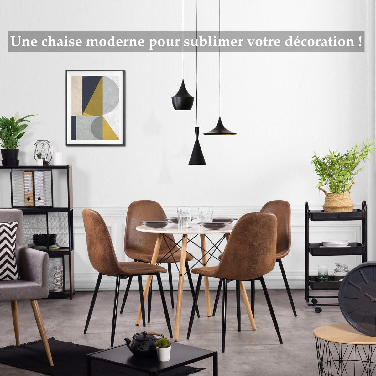 Déco Salle À Manger Vintage furniturer lot de 4 chaise de salle à manger avec pieds en