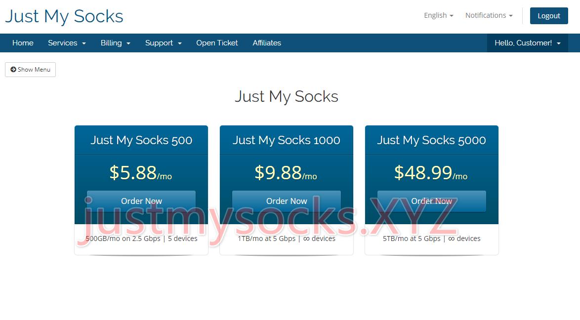 Just My Socks 100 套餐已隐藏购买