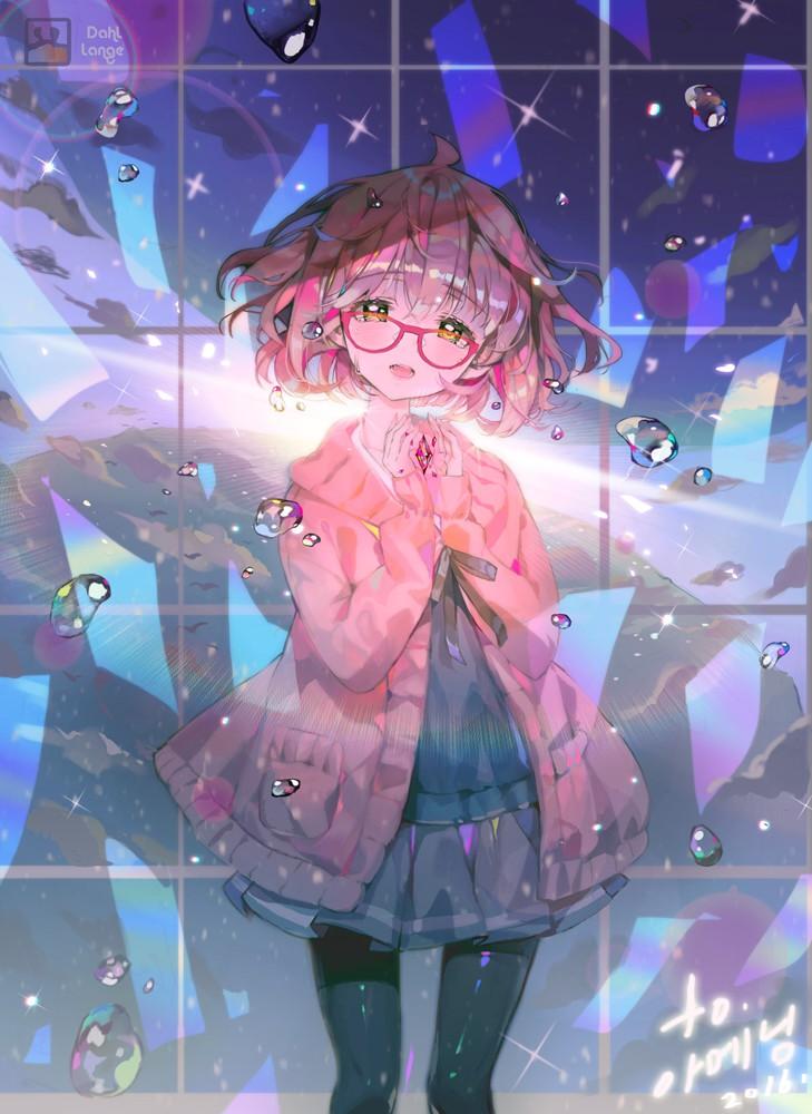 【手机壁纸】境界的彼方栗山未来 天然呆萌的可爱眼镜娘