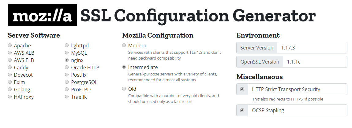 Mozilla SSL配置生成器