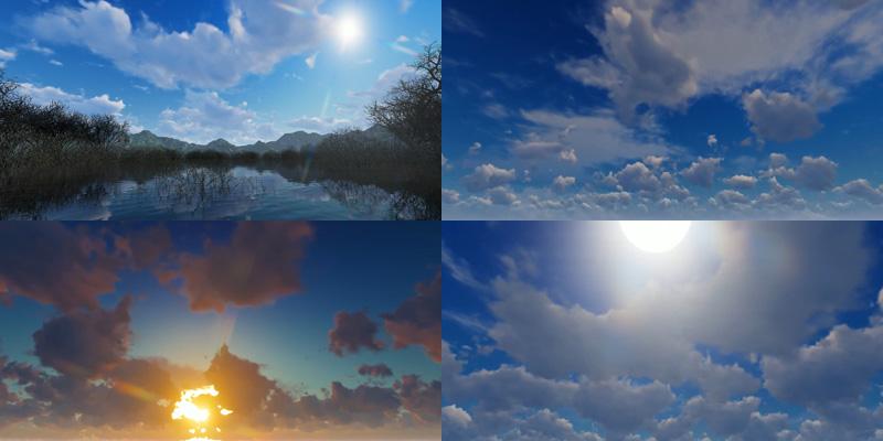 蓝天白云湖水自然风景视频素材[10款]