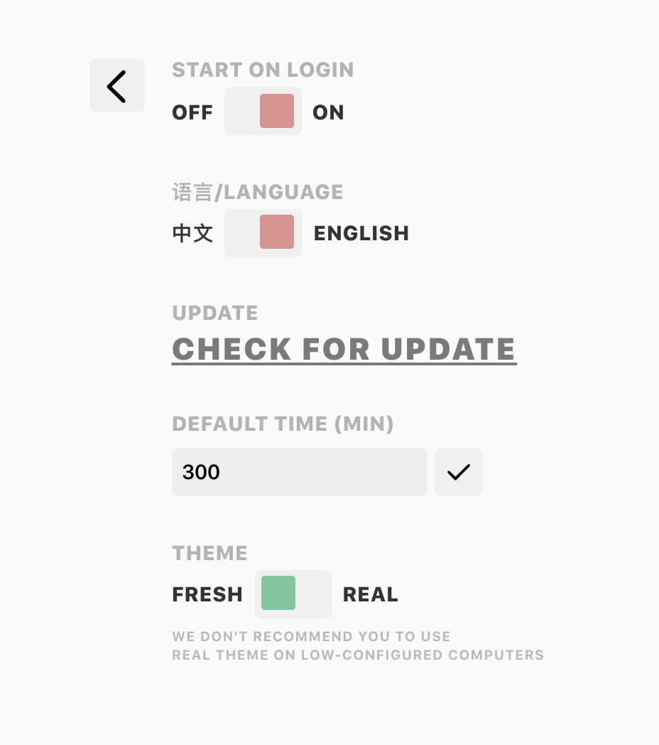 Settings Page