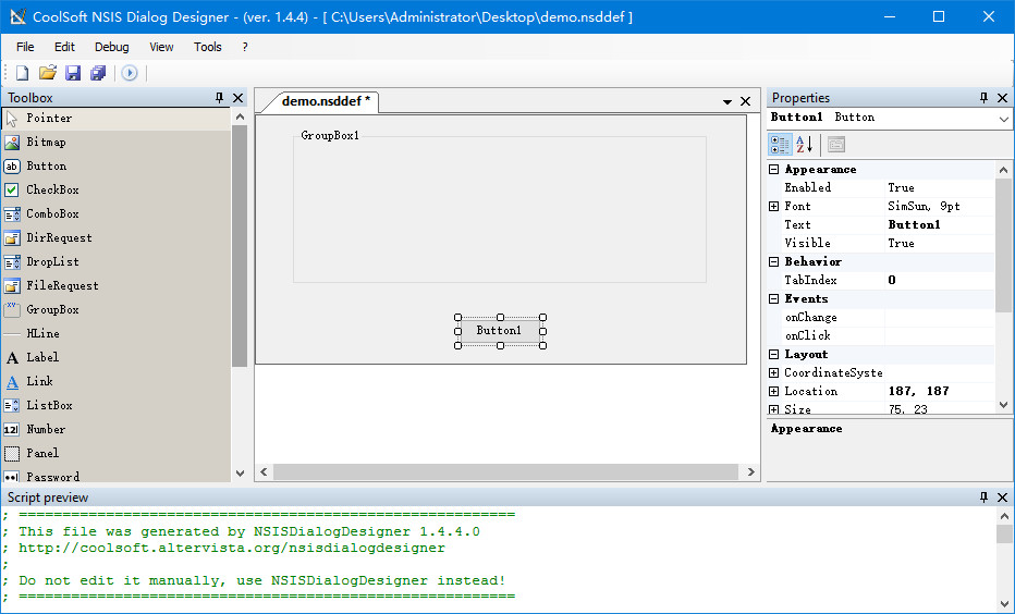 NSIS:自定义界面设计工具 NSISDialogDesigner v1.4.4 安装版