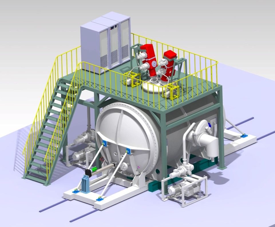 Preliminary design of the high heat flux test facility. Two electron beam guns (60 kW and 800 kW) are installed for transient and steady-state tests, respectively.
