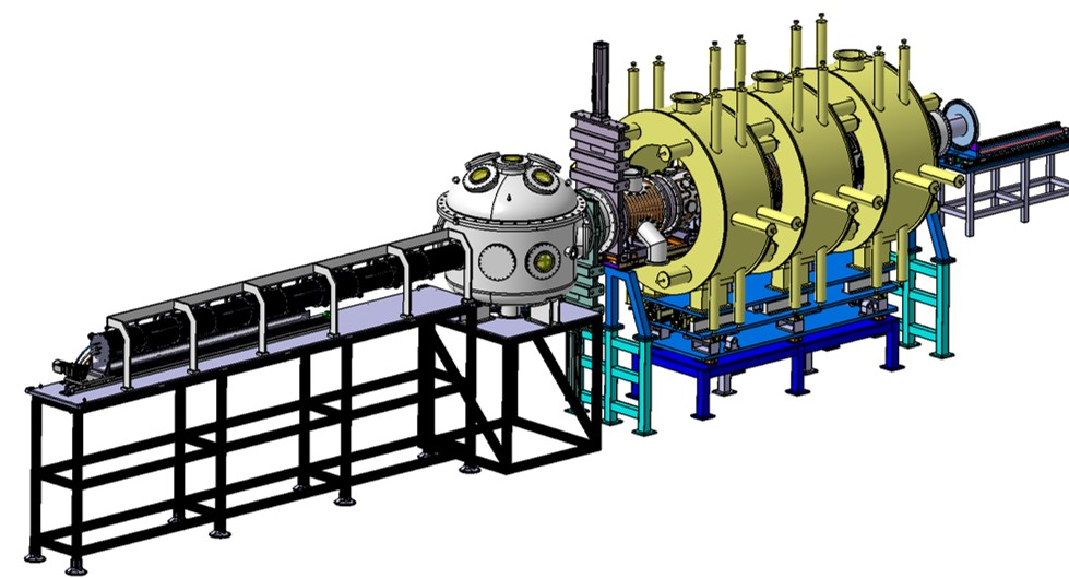 Preliminary design of the superconducting (>3 T) high flux (>1×10$^{24}$ m$^{-2}$s$^{-1}$) linear plasma facility.