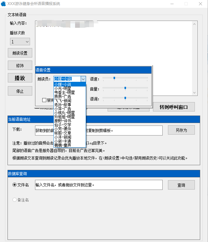 PC 讯飞文字转语音播放工具