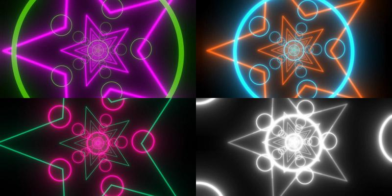 霓虹灯星形和圆环背景视频特效