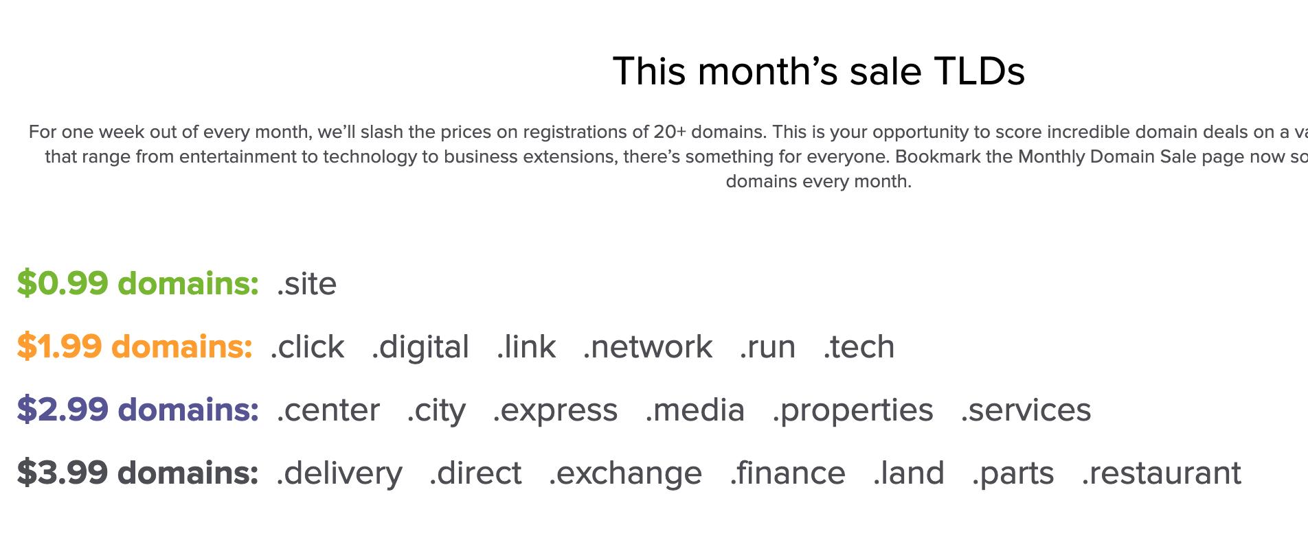 Name.com每月都有特价域名促销