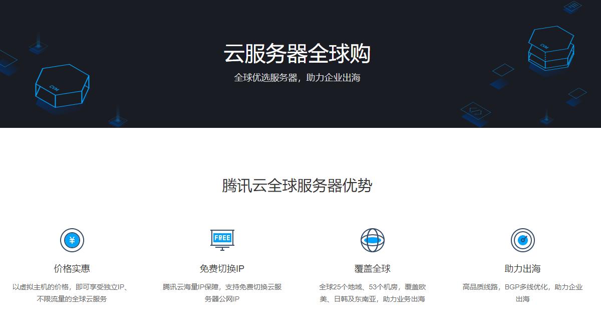 腾讯云免备案云服务器,香港/德国/美国/俄罗斯多地区可选,低至300元/年,不限流量/免费更换IP