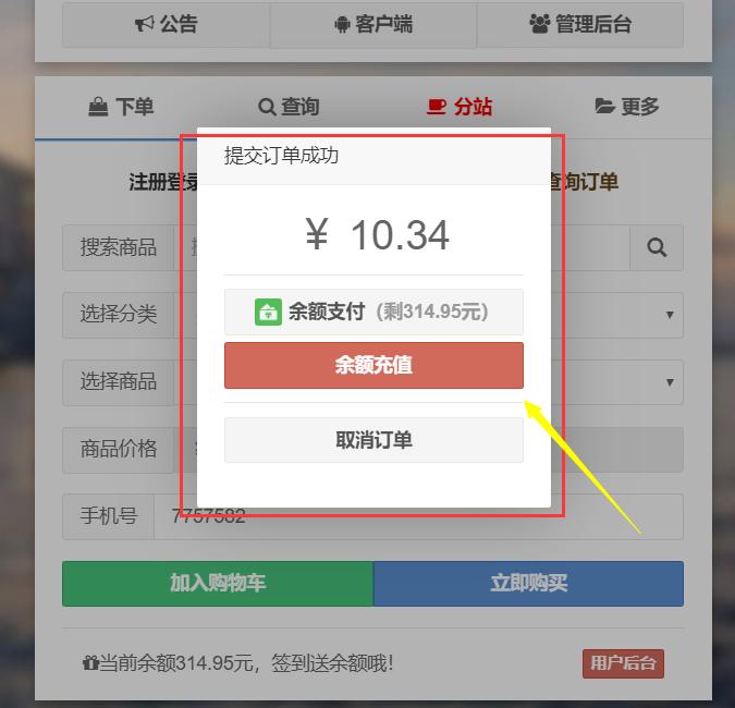 小储云商城彩虹代刷网商品支付页面提示代码
