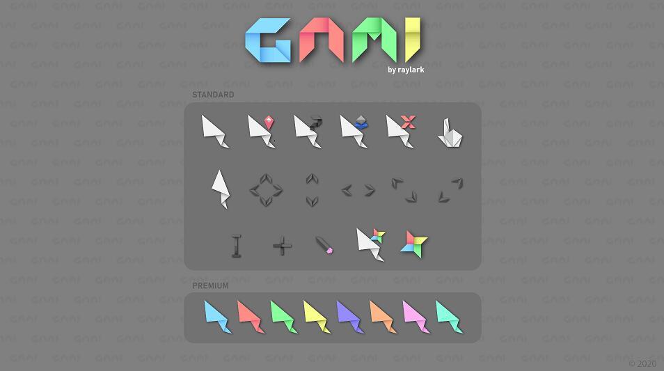 超好看的鼠标指针 折纸Gami