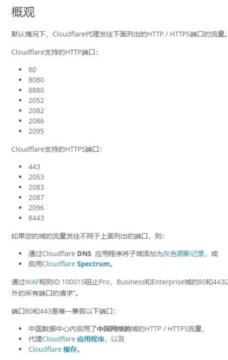Cloudflare支持的转发端口