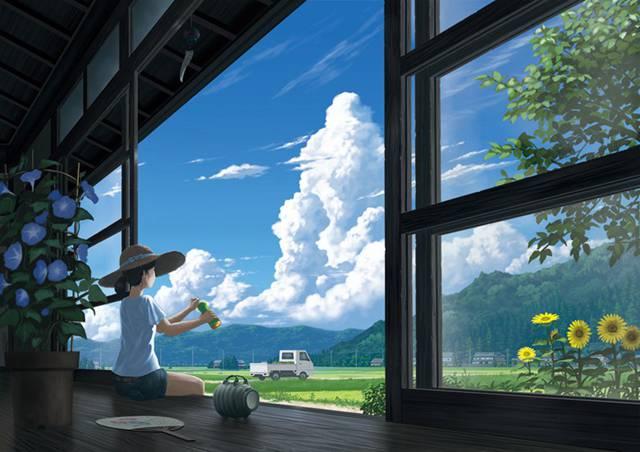 二次元复古风景图 天空美景插图