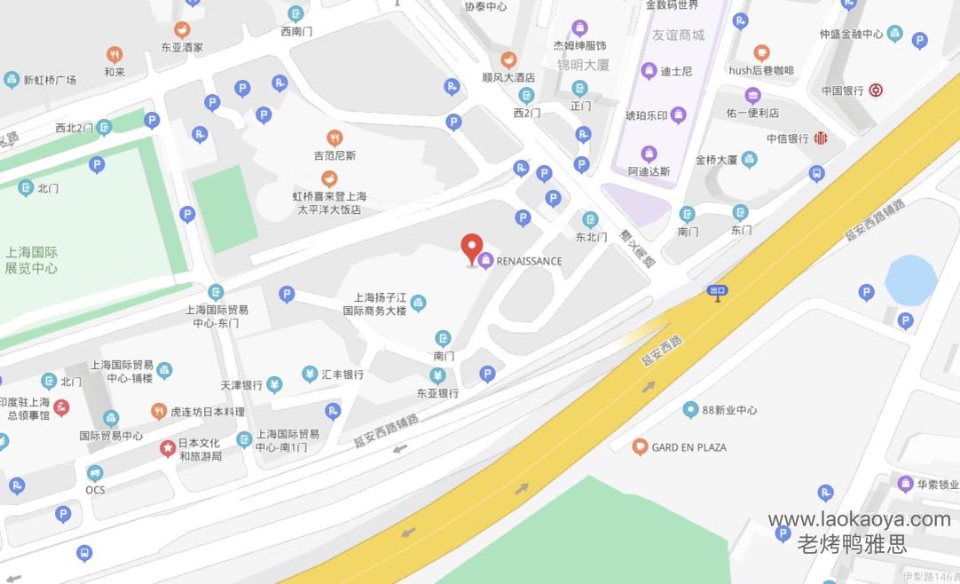 上海长宁区雅思考点方位图