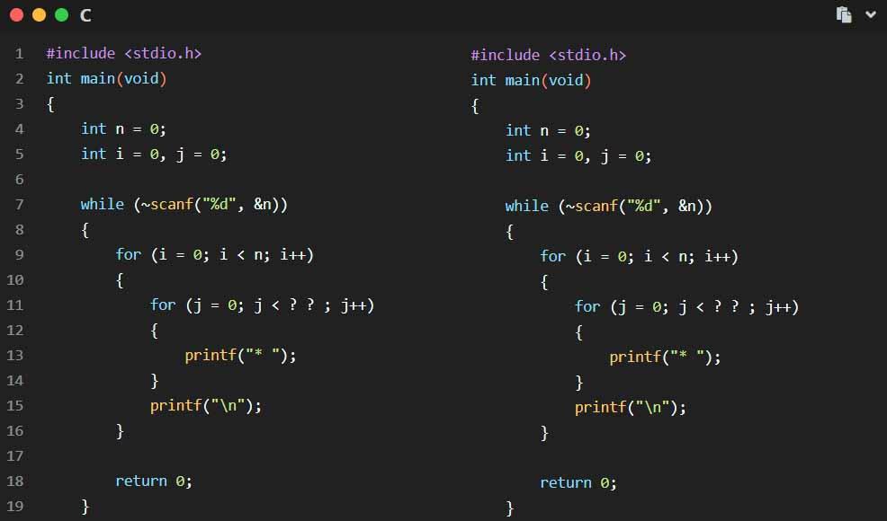 用for循环语句实现在屏幕上打印特殊图案编程题目的解法
