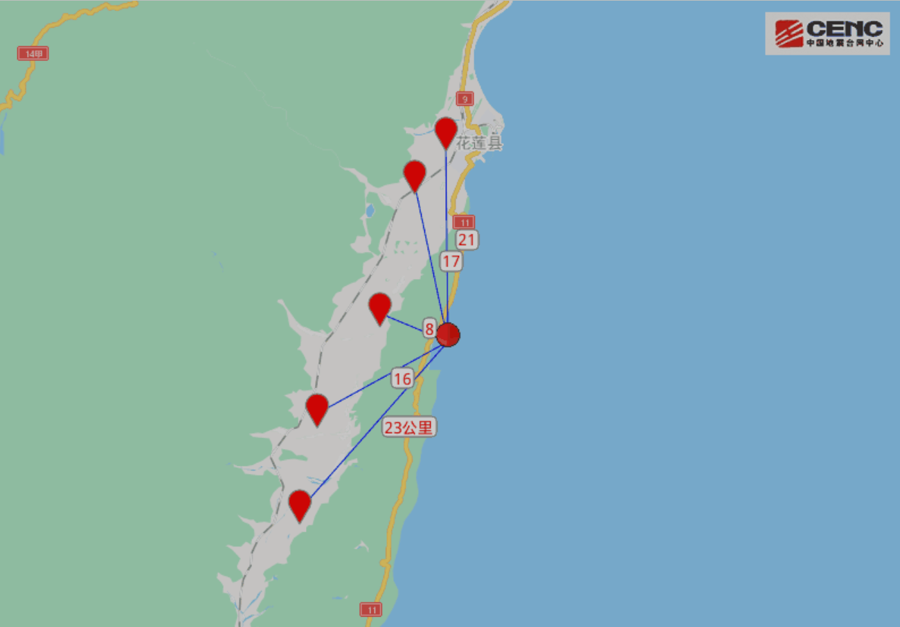 臺灣花蓮縣海域發生4.2級地震